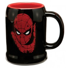Spiderman Man Face 20 Ounce Black Ceramic Stein