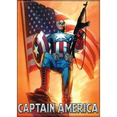 Captain America Posed with Flag Refrigerator Magnet